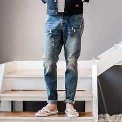 YIDESIMPLE - Distressed Washed Jeans