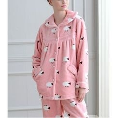 Mydream - Loungewear Set: Sheep Print Coral Fleece Shirt + Pants