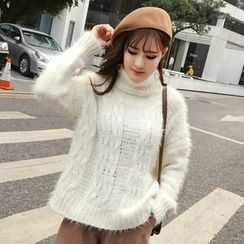 Honeydew - Turtleneck Cable Knit Furry Sweater