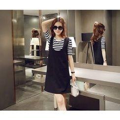 wisperia - Set: Striped T-Shirt + Jumper Skirt