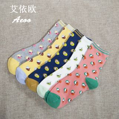 Aeoo - Set of 5: Patterned Socks