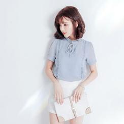 Tokyo Fashion - Tie-Neck Short-Sleeve Chiffon Blouse