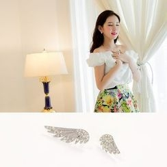 Love Generation - Rhinestone Wing Non-Matching Stud Earrings