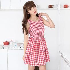 59 Seconds - Sleeveless Gingham Tie-Waist A-Line Dress