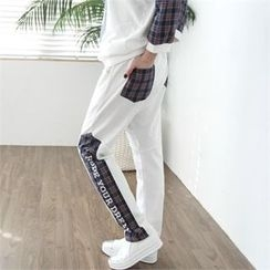 GLAM12 - Contrasted Check Panel Sweat Pants