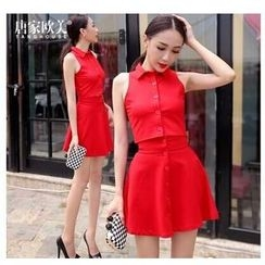 Tang House - Set: Sleeveless Blouse + High-Waist A-Line Skirt