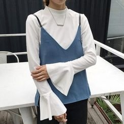 Cloud Nine - Bell-Sleeve Mock-neck Top