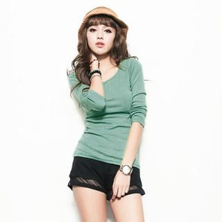 CUTIE FASHION - Long-Sleeve Round-Neck T-Shirt