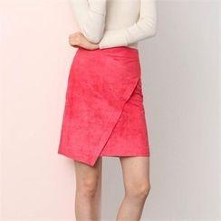 MAGJAY - Faux-Suede Asymmetric-Hem Skirt