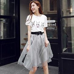 Munai - Set: Rabbit-Print T-Shirt + Bow Organza Midi Skirt