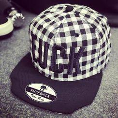 BYME - 'LUCK' Plaid Baseball Cap