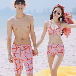 Sewwi - Couple Matching Patterned Swim Shorts/ Set: Bikini + Cover-Up