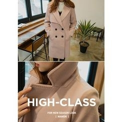 Chlo.D.Manon - Notched-Lapel Contrast-Button Wool Blend Coat