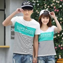 Igsoo - Couple Matching Letter Colour Block Short-Sleeve T-shirt
