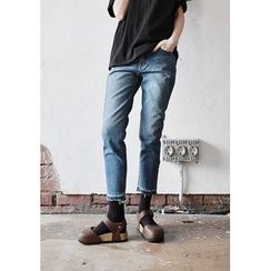 GOROKE - Distressed Washed Tapered Jeans
