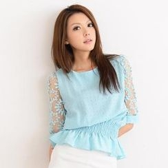 SO Central - Crochet Elbow-Sleeve Textured Top