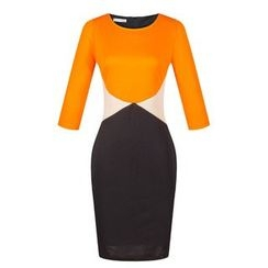LIVA GIRL - 3/4-Sleeve Color Block Sheath Dress
