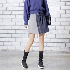 Sonne - Color-Block Wool A-Line Skirt