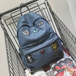 Youme - Patch Embroidered Denim Backpack