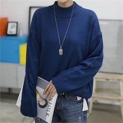 CHICFOX - Mock-Neck Drop-Shoulder Knit Top