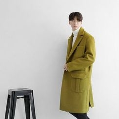 Seoul Homme - Wool-Blend Single-Breasted Long Coat