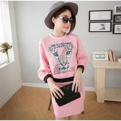 Hanako Shiratori - Set: Leopard Print Pullover + Pencil Skirt