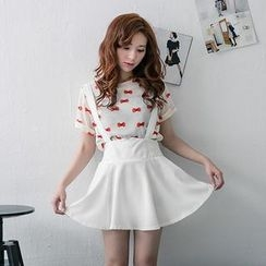 Lucky Leaf - Suspenders Elastic-Waist A-Line Skirt