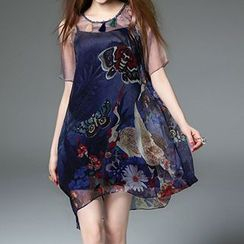 Queen Mulock - Short-Sleeve Printed Dress (with Camisole)
