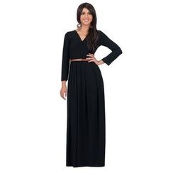 Hotprint - V-Neck Long-Sleeve Maxi Dress with Belt
