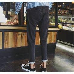 优凡士品 - 字母卷边下摆牛仔裤