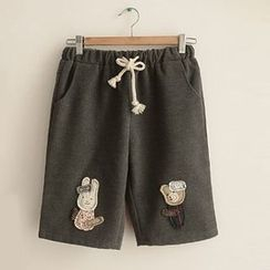 Angel Love - Animal Appliqué Sweat Shorts