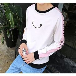 Bestrooy - Embroidered Color Panel Pullover