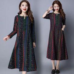 Diosa - Long-Sleeve Patterned A-Line Midi Dress