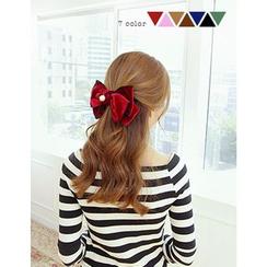 soo n soo - Faux-Pearl Velvet Bow Hair Barrette
