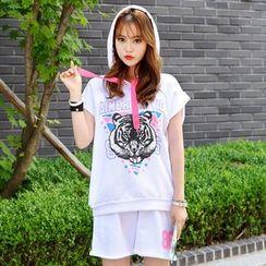 DEEPNY - Set: Hooded Tiger Print T-Shirt + Sweat Shorts