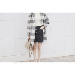 Eva Fashion - Gingham Lapel Knit Coat