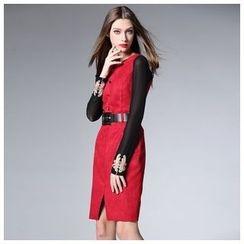 Elabo - Sleeveless Tie Waist Dress