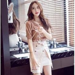 Jolly Club - Set: Short-Sleeve Lettering T-Shirt + Buttoned Slit-Front Skirt