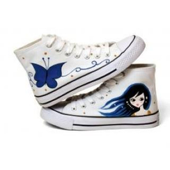 HVBAO - Painted Girl High-Top Canvas Sneakers