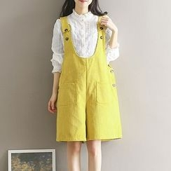 Clover Dream - Pocketed Corduroy Pinafore Playsuit