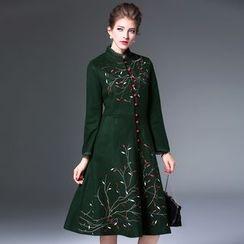 Elabo - Embroidered Button Down Midi Dress