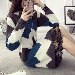 Qimi - 长袖波浪条纹针织连衣裙