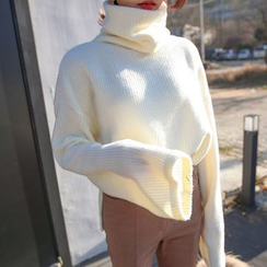 PPGIRL - Turtle-Neck Bell-Sleeve Knit Top