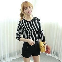 Dodostyle - Stripe Round-Neck T-Shirt
