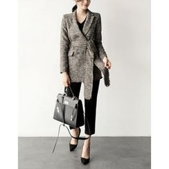 UPTOWNHOLIC - Double-Breasted Textured Coat With Sash