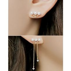 soo n soo - Faux-Pearl Asymmetric Earrings