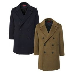 Seoul Homme - Notched-Lapel Double-Breasted Pea Coat