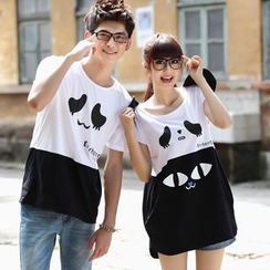 NoonSun - Couple Matching Color Block Panda Print Short Sleeve T-Shirt