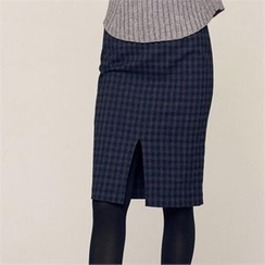 MAGJAY - Slit-Front Checked Pencil Skirt