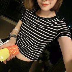 氣質淑女 - 條紋短款T恤
